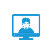Icon of a STEM professional hosing a certification course on a screen
